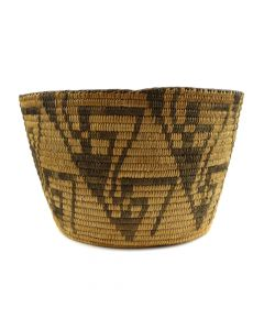 "Pima Basket with Geometric Design c. 1910s, 6.25"" x 10.5"""