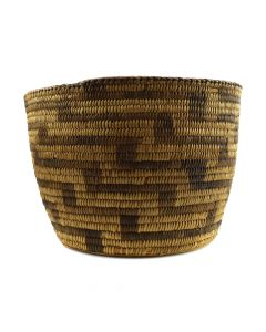 "Pima Basket with Lightning Design c. 1910-20s, 7"" x 10"""