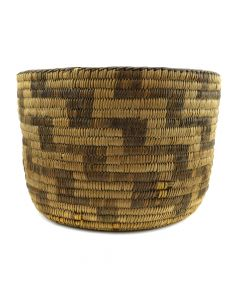 "Pima Basket with Lightning Design c. 1910-20s, 7.5"" x 10.5"""