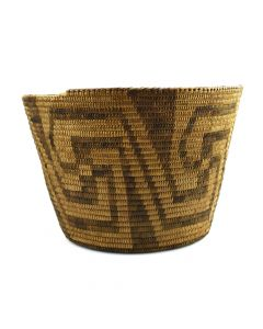 "Pima Basket with Whirling Log Design c. 1910-20s, 7"" x 8"""