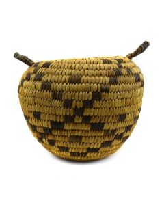 "Tohono O'odham Basket with Handles and Checkered Design c. 1950s, 6.25"" x 8"""