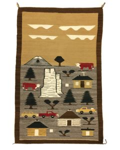 """Navajo Shiprock Town Pictorial Rug, c. 1960s, 38"""" x 59"""" (T1043-CO)"""