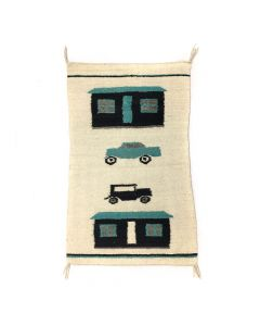 "Lot 323 - Navajo Pictorial Rug with Trucks and Houses, c. 1950s, 35"" x 22"" (T3258)"