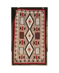 "Navajo Ganado Rug with Maltese Crosses and Miniature Textile Sampler Designs, c. 1925-30, 90"" x 52.5"" (T4176)"