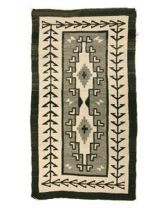 "Navajo Two Grey Hills Rug, c. 1920, 56"" x 32"""