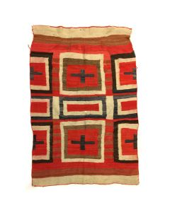 "Navajo Transitional Ganado Blanket with Crosses c. 1890s, 65.5"" x 45"" (T4479)"