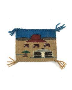 "Navajo Miniature Pictorial Sampler c. 1980s, 4.625"" x 5.75"""
