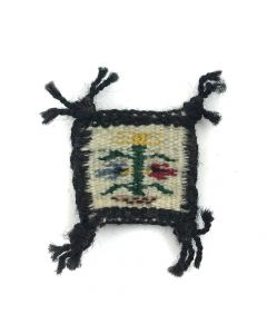 "Navajo Miniature Rug with Cornstalk c. 1980s, 1"" x 1.1125"""