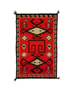 "Navajo Germantown Blanket with Waterbug Symbols and Salt and Pepper Fields c. 1890s, 102.25"" x 65.5"""