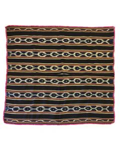 """Bolivian Poncho with Ikat Design, Possibly with Natural Dyes c. 1890-1910s, 49"""" x 54"""""""