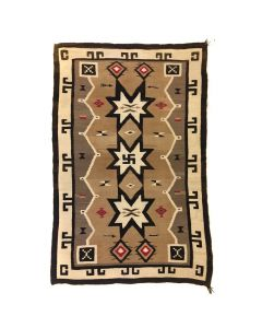 "Navajo Crystal Rug with Whirling Log Design c. 1910s, 73"" x 48"""