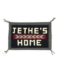"Navajo Small Rug with ""Jethe's Home"" Letters, c. 2010s, 13.5"" x 21"""