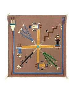 "Navajo Nightway Sandpainting with Sacred Plants and Whirling Logs c. 1970-80s, 27.25"" x 28.25"""