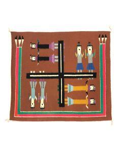 """Navajo Whirling Logs Sandpainting Rug c. 1980s, 29.5"""" x 26.5"""""""