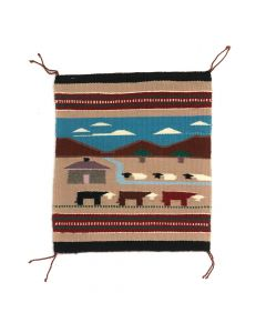 "Helen Jennie - Navajo Farm Pictorial Rug c. 1990s, 17.25"" x 15.25"" (T5314)"