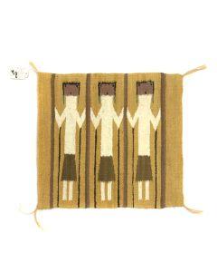 "Navajo Yei Pictorial Rug c. 1950s, 19.75"" x 21.5"""