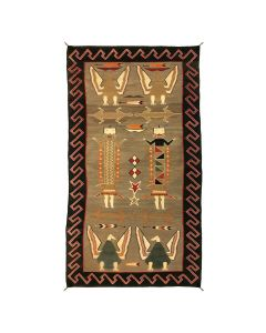 "Navajo Yeibeichei, Lizard, and Eagle Pictorial Rug c. 1920-30s, 83"" x 45"""