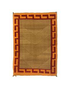 """Navajo Double Saddle Blanket c. 1900-10s, 56"""" x 38"""" (T5520)"""