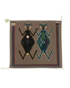 """Brenda Crosby - Navajo Yei Pictorial Rug c. 1970s, 37.25"""" x 38"""" (T5568)"""