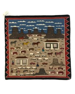 "Navajo Farm Pictorial Rug c. 1980s, 50"" x 52.5"" (T5571)"