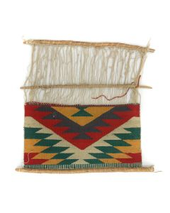 """Navajo Germantown Sampler on Loom c. 1890s, 17.5"""" x 19"""" (T5583)5"""