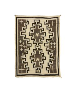 """Navajo Crystal Rug with Stars and Crosses c. 1910s, 82.5"""" x 62"""" (T5586-CO)"""