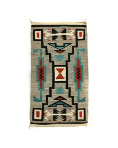 "Navajo Crystal Storm Pattern Rug c. 1950s, 59.5"" x 32.5"" (T5603)"