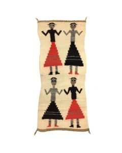 "Navajo Pictorial Gallup Throw with Male Yei Figure Variants c. 1990s, 37"" x 16"" (T5611)"