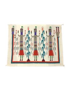 """Navajo Yei Pictorial Rug with Rainbow God c. 1970s, 38.5"""" x 49.5"""" (T5628)"""