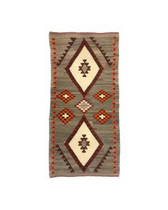 "Navajo Red Mesa Runner with Cross Designs c. 1920s, 68.25"" x 32.75"" (T5663)"
