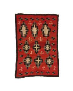 """Navajo Ganado Rug with Ranch Brands c. 1900s, 75.5"""" x 51.75"""" (T5734)"""