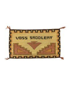 """Navajo Single Saddle """"Voss Saddlery"""" Pictorial Blanket c. 1920s, 21"""" x 35.5"""" (T5736-CO)"""