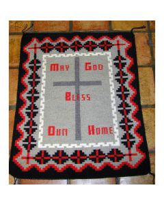 "Navajo Pictorial Rug ""God Bless Our Home"" by Ella Jean Ben, 33"" x 42"" (T90106-041-008)"
