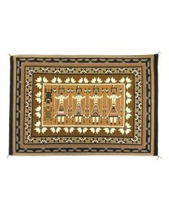 "Navajo Two Grey Hills Rug with Yei Pictorial c. 2000s, 34"" x 66"""