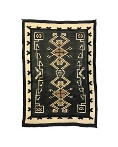 "Navajo Two Grey Hills Rug c. 1920s, 78.5"" x 53"""