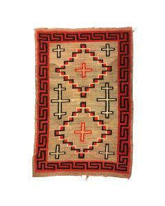 "Navajo Crystal Rug with Cross Designs c. 1905, 84"" x 56"" (T90249A-1120-001)"