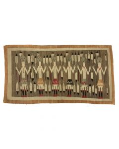 """Navajo Yei Pictorial Rug with Male Dancers c. 1915, 39"""" x 74"""" (T90419A-0820-001)"""