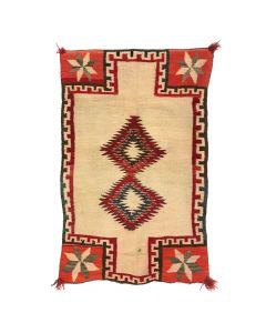 "Navajo Double Saddle Blanket with Valero Stars c. 1910-20s, 53"" x 33.5"" (T90594-1219-002)"