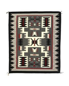 "Marilyn Buckinghorse - Navajo Crystal Storm Pattern Rug c. 1990s, 70.5"" x 60"" (T90617A-1119-001)"