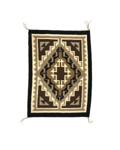 """Navajo Two Grey Hills Rug c. 1970s, 24.5"""" x 18"""" (T90725A-0421-001)"""