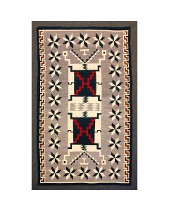"Navajo Crystal Storm Pattern Rug with Valero Stars, c. 1930, 121"" x 74.5"""