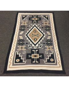 "Navajo Two Grey Hills Rug, c. 1958, 76.5"" x 49"""
