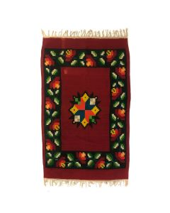 "Mexican Blanket with Flower Designs c. 1950s, 81"" x 53.5"""