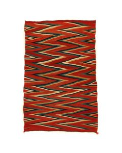 "SOLD Navajo Raveled Yarn Germantown Wedge Weave Blanket c. 1890s, 85.5"" x 56.5"" (T91146A-0121-001)"