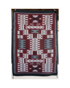 "Navajo Storm Pattern Rug by Gaberial Benally, c. 1970-80, 76.5"" x 53.5"""
