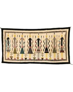 "Large Navajo Yei Pictorial Rug c. 1950s, 122"" x 60"""