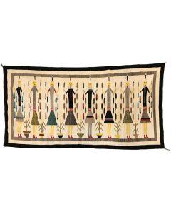 "Large Navajo Yei Pictorial Rug c. 1950s, 122"" x 60"""