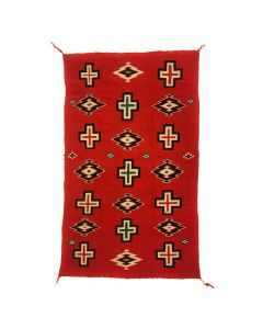 "Navajo Germantown Blanket with Cross Designs c. 1890s, 75"" x 45"" (T91639A-0320-001)"