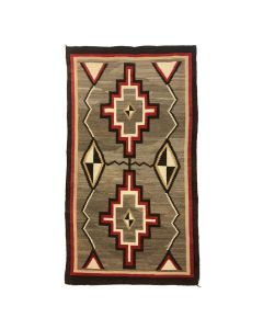 "Navajo Crystal Storm Pattern Variant Rug c. 1910-20s, 76.5"" x 44.5"" (T91640A-0620-001)"
