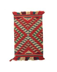 "Navajo Germantown Blanket c. 1890s, 35"" x 21"""